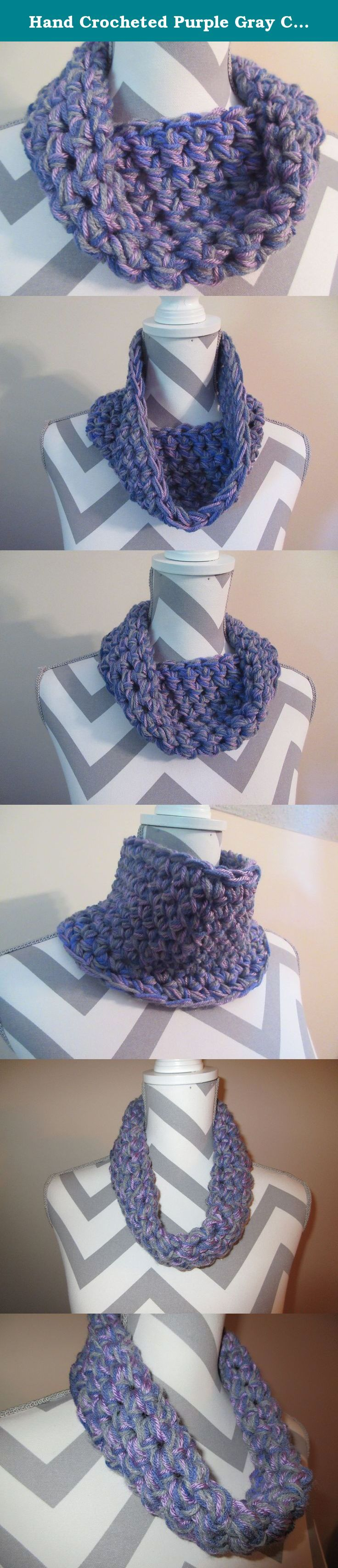 Hand Crocheted Purple Gray Chunky Cowl Scarf by Ladies Fashion Infinity Cowl Design Drape Down Fall Winter OSFA Handmade Gift for Her Gift Bag and Ribbon Included. Handmade Super Soft 3 strands of Gray, Light Purple and Dark Purple Blend Acrylic to make Chunky Scarf Hand Crocheted Cowl Infinity Design 24 inches circumference (hand crocheted together in one loop 5 1/2 inches tall can be worn as a neck warmer or turned down as a very soft warm scarf). Super soft luxe acrylic yarn. Washable…