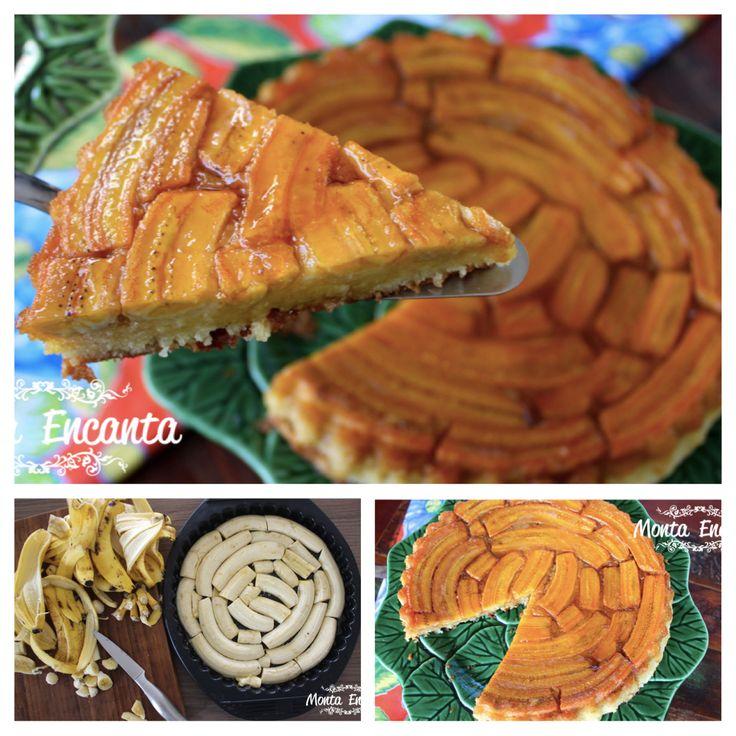 BOLO DE BANANA CARAMELADA! As bananas ficam macias, a calda escorre pelo bolo, que fica úmido, embebido pelo caramelo, a massa é fofa, amanteigada, uma delícia sem igual, receita aqui --> http://www.montaencanta.com.br/bolo-2/bolo-de-banana-caramelada-2/