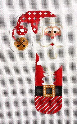 SP.ORDER ~ Danji Designs Classic Candy Cane Santa HP Needlepoint Canvas Ornament