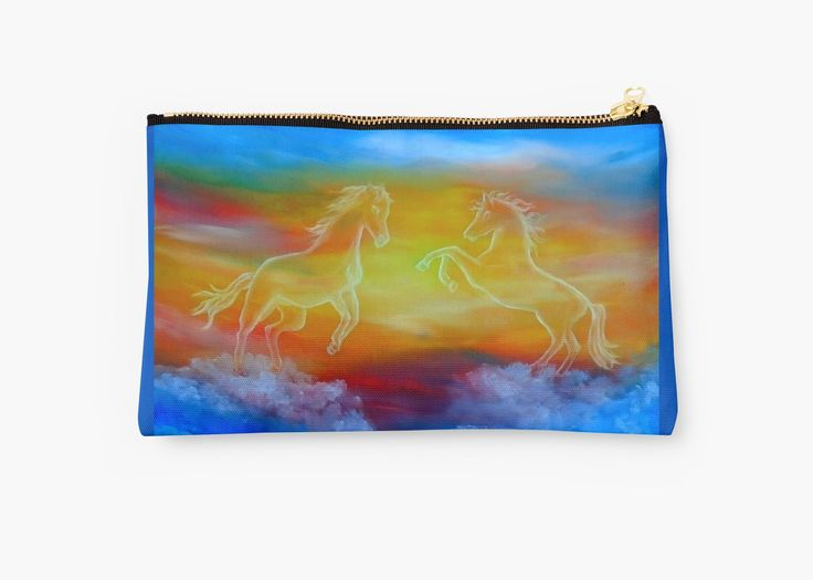 Studio Pouch,  horses,sky,blue,colorful,magical,majestic,impressive,fantasy,cool,beautiful,unique,trendy,artistic,unusual,accessories,for sale,design,items,products,presents,gifts,ideas,carry all pouch,redbubble