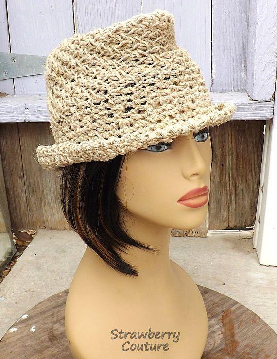 ALISTER Natural Hemp Twine Crochet Womens Fedora Hat Floppy Sun Hat Women Floppy Hat Hemp Hat by strawberrycouture by #strawberrycouture on #Etsy