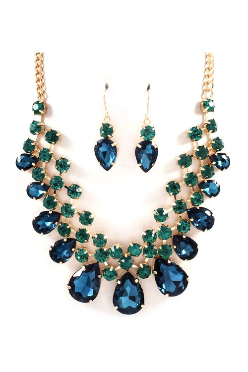 Raileen Necklace Set in Sapphire and Emerald Crystal