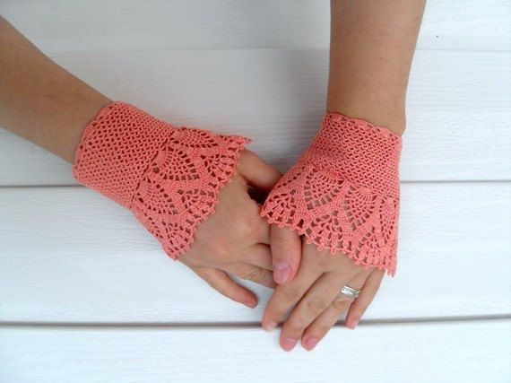 Crochet Gloves Victorian Gloves Deep Peach Lace by SmilingKnitting, $22.00