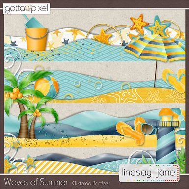 Waves of Summer Digital Scrapbook Borders $2.00