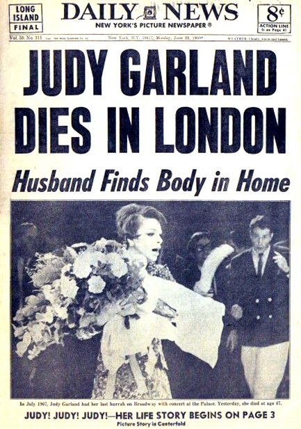 June 22, 1969 Singer-actress Judy Garland died at age 47.