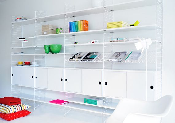 string® system - shelves, cabinets and magazine shelves and floor panels in white