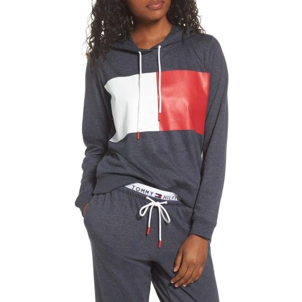 Women's Tommy Hilfiger Th Retro Hoodie (3,760 DOP) ❤ liked on Polyvore featuring tops, hoodies, peacoat, tommy hilfiger top, tommy hilfiger hoodie, tommy hilfiger hoodies, retro hoodies and hoodie top