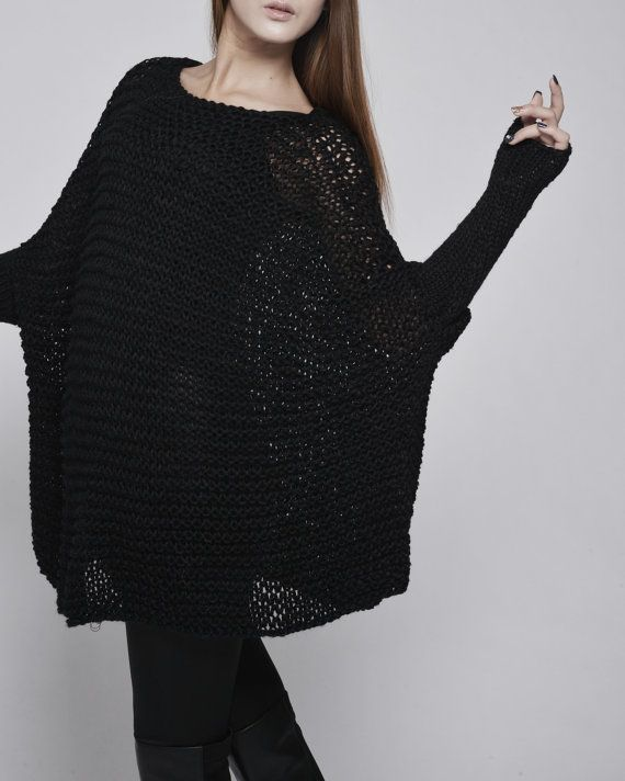 This beautiful over-sized sweater features simple style with fitted sleeves that makes you stylish and on trend. It is made of 100% eco cotton yarn in a Black. No itch at all! It is a perfect item for Fall/winter that you can layering with tunic or shirt.  Size: one size fit most. Hand wash only and lay flat to dry.  I have other colors for this poncho. Pls. Check my shop for details: http://www.etsy.com/shop/MaxMelody?section_id=7175104   Thanks for stop by my s...