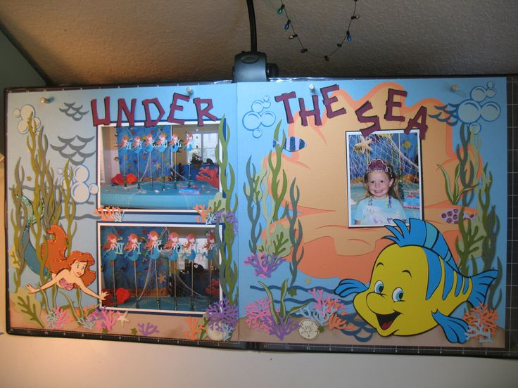 "Under the Sea birthday party. Lay out made with Cricut using ""Dreams Come True"" and ""Life's a Beach"" cartridges."