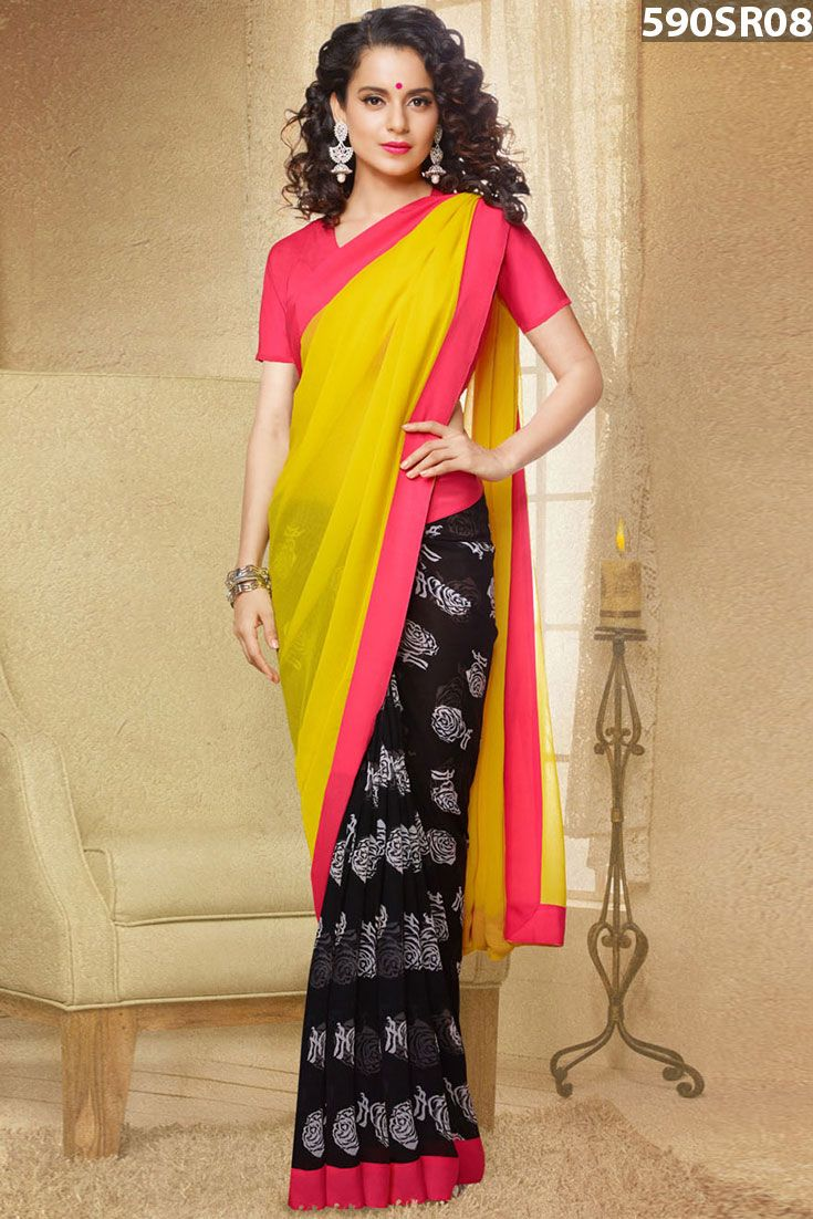 #Kangana #Ranaut Yellow Georgette Reversible Saree With Blouse. It is #georgette reversible #saree fabricated with floral print with peach satin patti border. Available with peach crape blouse.Price US$ 48.