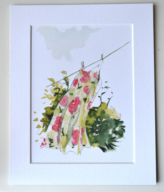 Vintage dress on the washing line - Print of original watercolour. Availbale to buy at https://www.etsy.com/listing/193319498/vintage-dress-on-the-washing-line-print