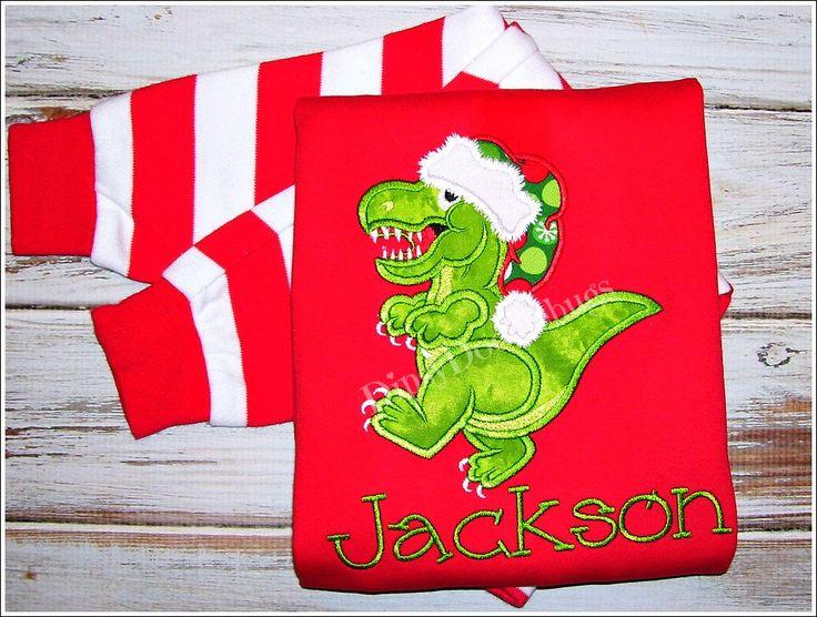 Dinosaur Pajamas - Christmas Pajamas- Dinosaur Christmas Pajamas- Personalized Pajamas - Boys Christmas Pajamas - Girls Christmas Pajamas by DipsyDoodlebug on Etsy https://www.etsy.com/listing/167436421/dinosaur-pajamas-christmas-pajamas