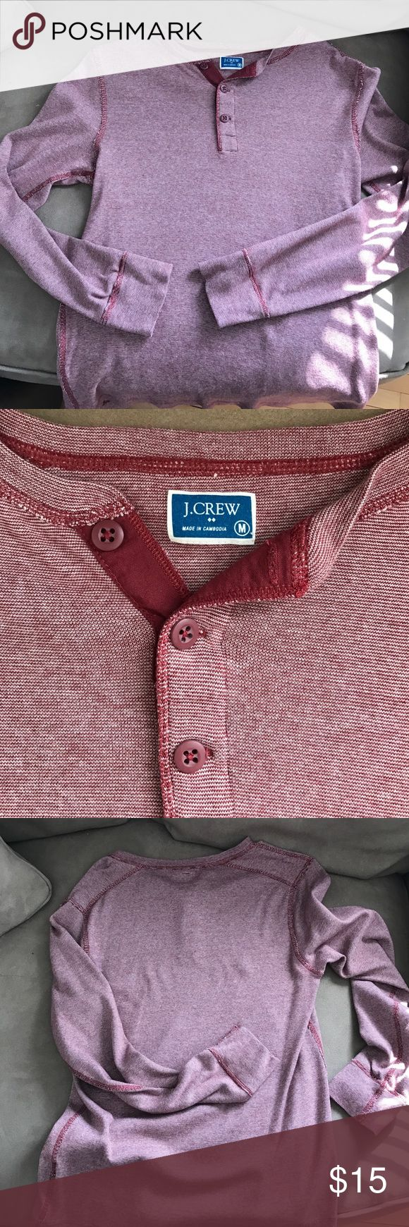 J Crew Men's Long Sleeve Henley - MEDIUM Long sleeved cotton Henley - worn and washed once. Perfect condition! J. Crew Shirts Tees - Long Sleeve