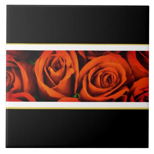 Red Rose Floral Motif Black White Gold Ceramic Tile