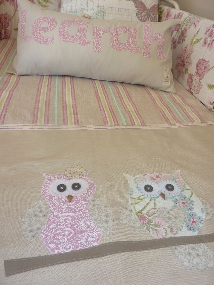 Owls in soft pastels and stone by Zhoozsh linen