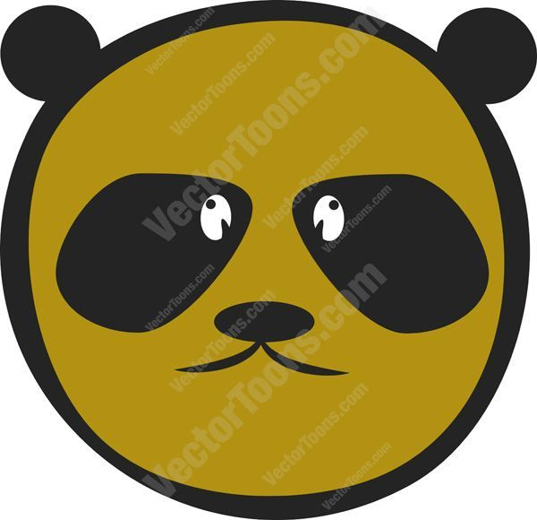 Brown Panda Bear Emoticon With Dark Black Eyes And Ears #adorable #animal #bear #computer #cuddly #cute #doll #emotion #expression #face #feeling #icon #mood #panda #PDF #smiley #toy #vectorgraphics #vectors #vectortoons #vectortoons.com