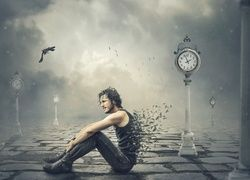 Mężczyzna, Piórka, Ptaki, Zegary, Fantasy