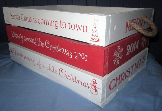 Christmas Eve Box or crate personalised 30cm by 20cm by 18cm