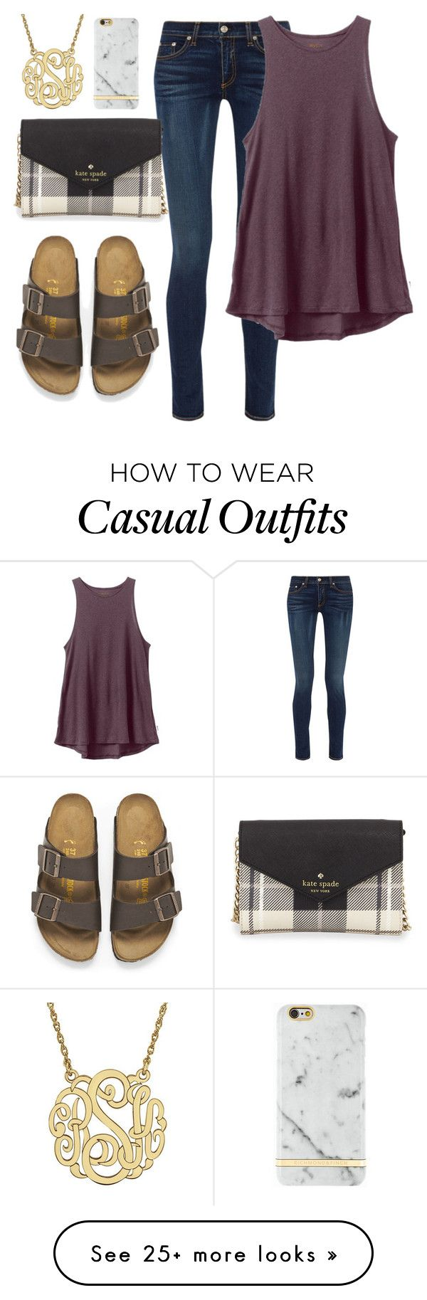 """Casually fancy"" by sadiepatton on Polyvore featuring moda, rag & bone, RVCA, Birkenstock y Kate Spade"