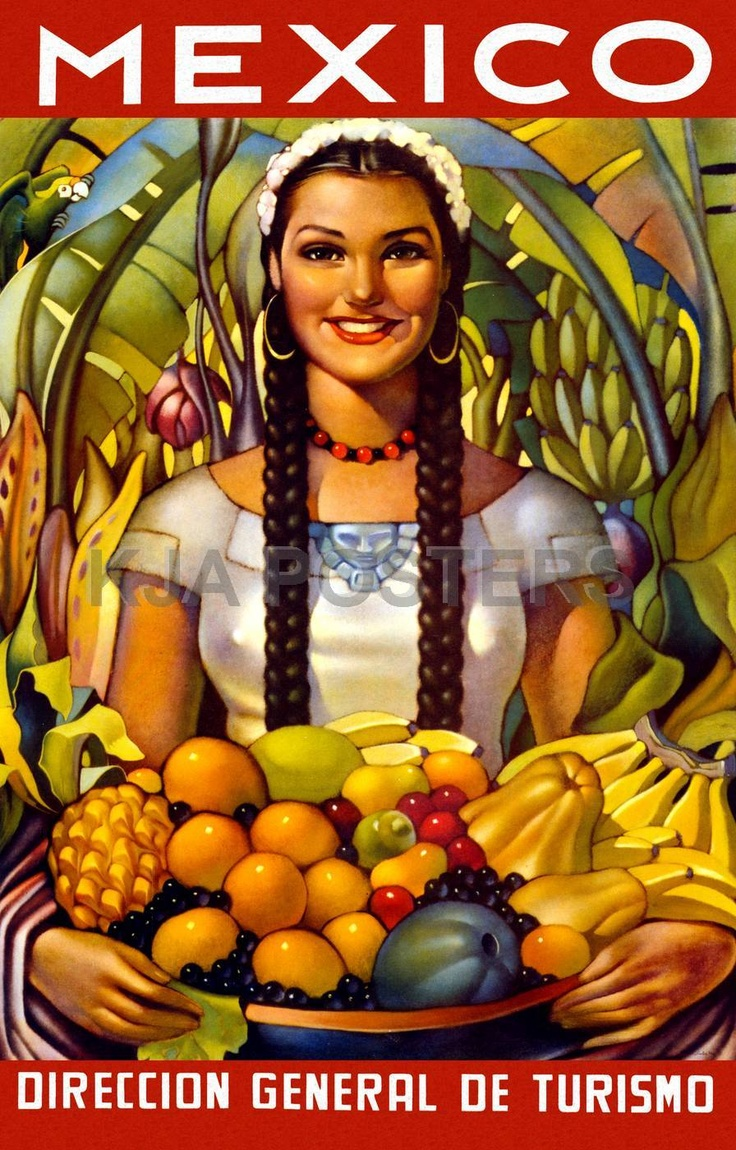 Mexican Calendar Girl Art : Vintage posters mexico tourism girl with fruit