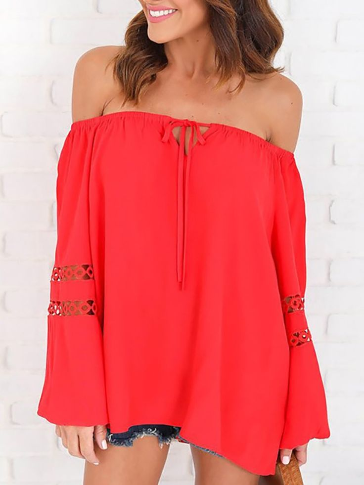 Trendy Lace Patchwork Off Shoulder Loose Blouse