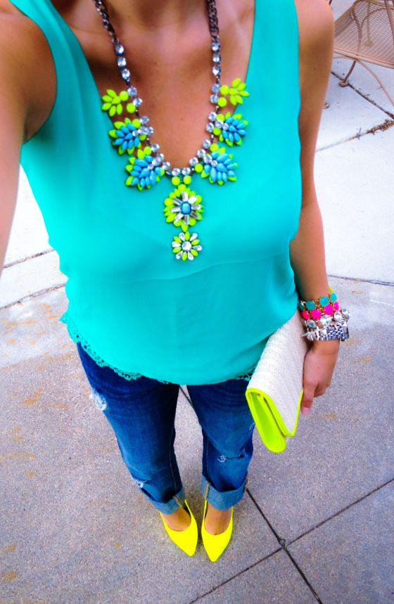 Pool hues outfit - neon, cobalt blue, turquoise/ mint