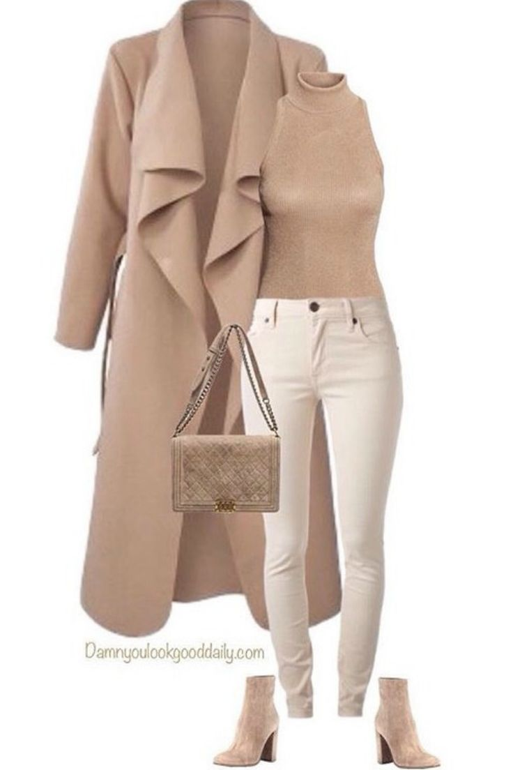 Fall winter outfit ideas that is totally in trend with the long camel coat with jeans and ankle boots. The sleeveless turtleneck top and Chanel bag.