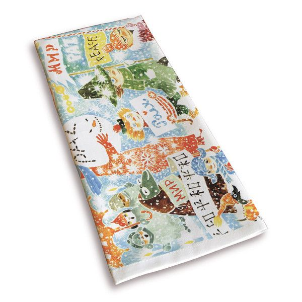 Beautiful white kitchen towel with colorful details and featuring beloved characters from Moominvalley, with a classic motif taken from Tove Jansson's original