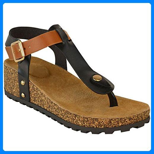 Neu Damen Keilabsatz Komfort Sandalen Gepolstert Zehentrenner Fußbett Schuh Größe - Damen, Schwarz Kunstleder, 39 - Sandalen für frauen (*Partner-Link)