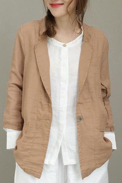 4a6ec5805d03fe CASUAL LOOSE COTTON LINEN COAT WOMEN FASHION JACKET Q8102   Fashion ...