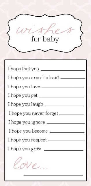 wishes for baby: Blank Sheet, Baby Showers Idea, Baby Showers Games, Girly Note, Baby Shower Ideas, Cute Ideas, Baby Shower Games, Baby Books, Babyshow
