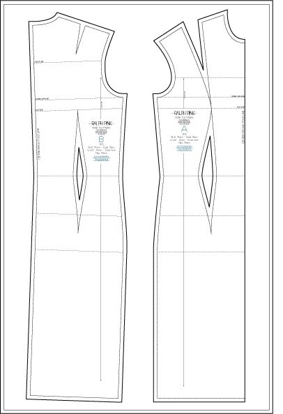 Free dress block - pattern Ralph Pink - patron gratuit de robe de base - taille UK 8