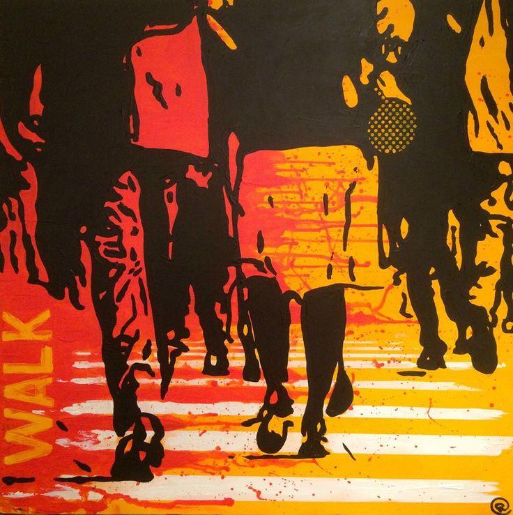 """Walk"" Acrylic on canvas 80x80 www.ricasso.se"
