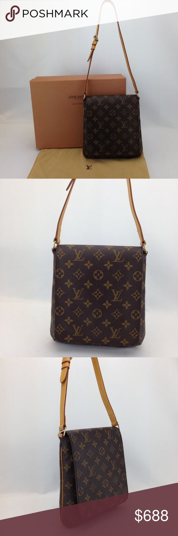 "Louis Vuitton Monogram Musette PM Shoulder Bag Louis Vuitton Monogram Musette Salsa PM Shoulder Bag in great condition! 100% pre-owned authentic. Date code reads SD0979. Made in USA. No trade  Exterior features: - brown and tan monogram coated canvas with tonal stitching - tan vachetta leather trim with contrast yellow stitching - single flat adjustable belt shoulder strap with 8""-13"" drop  Interior features:  - solid rust Alcantara lining - single open flat patch pocket w/ leather trim…"