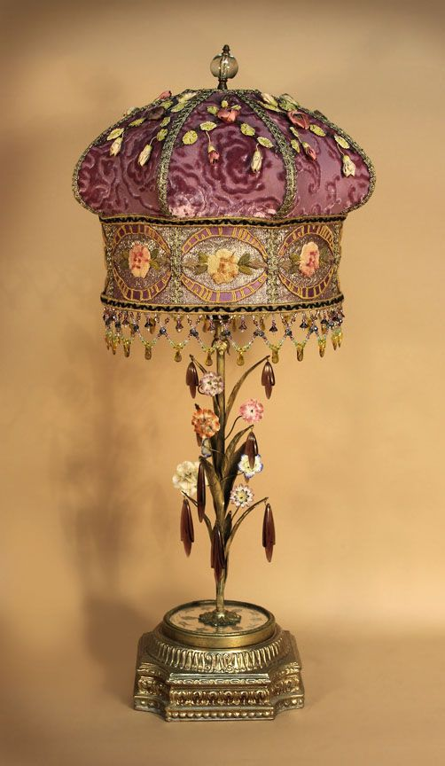 518 best images about victorian lamp on pinterest for Purple beaded lamp shade