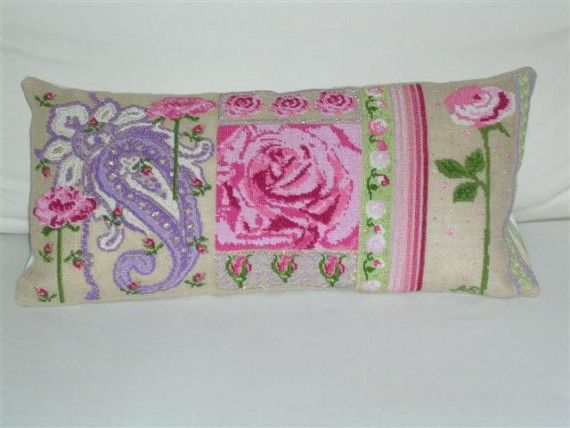 UNIQUEneedlepoint kitcross stitchpinkrosesburlap by anetteeriksson, $70.00