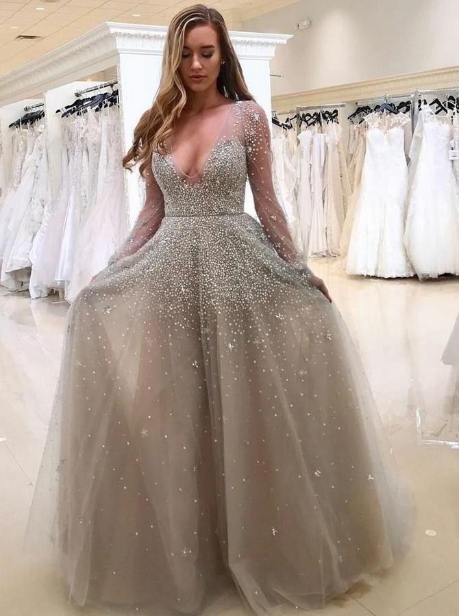 Sparkly Prom Dresses,Prom Dress with Sleeves,Silver Prom Dress ...