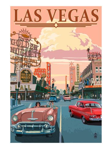 Cruising Fremont Street in downtown Las Vegas.  Retro Art Poster by Lantern Press at AllPosters.com
