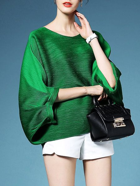 Green Pleated Plain Polyester Batwing T-Shirt