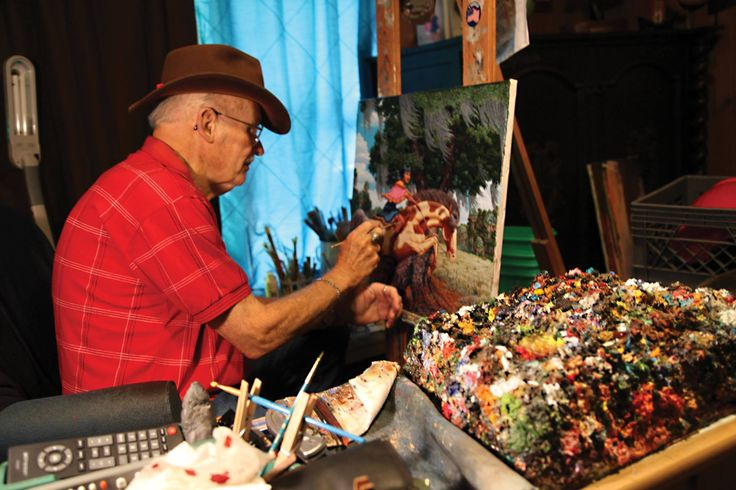 """by Ah-Tah-Thi-Ki Seminole Museum: """"Guy LaBree Questions: Do you know why he is called the """"barefoot artist""""? Have you hear about his """"famous palette""""? Find out here at the Museum, where we are celebrating the life and art of this Florida legend who painted stories of the Seminoles. Exhibit open now though November 8th..."""""""