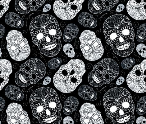 Black and White Sugar Skulls fabric by peacefuldreams on Spoonflower - custom fabric