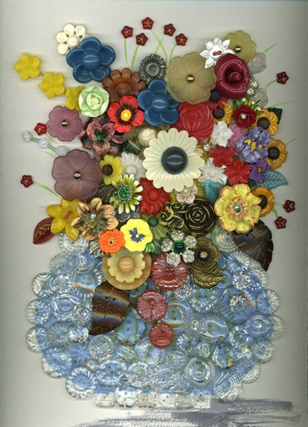 OMG!  So beautiful.  I have lots and lots of  vintage buttons but I wouldn't know how to make this gorgeous piece of arts.
