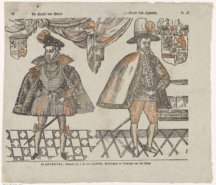 Jan Hendrik de Lange | De graav van Hoorn / De graav van Egmond, Jan Hendrik de Lange, Anonymous, 1787 - 1822 | Blad met 2 voorstellingen. Links een voorstelling van de graaf van Hoorn, met links van zijn hoofd een wapenschild. Rechts een voorstelling van de graaf van Egmond, met rechts naast zijn hoofd een wapenschild. Genummerd rechtsboven: N. 58.