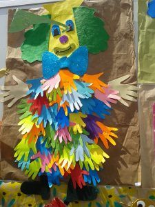 handprint clown bulletin board
