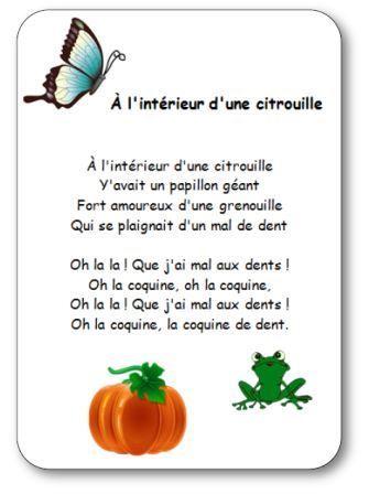 Comptine pour enfants maternelle, cycle 2, sur le thème d'Halloween et des citrouilles. Cette comptine sur la citrouill, le papillon et la grenouille qui a mal aux dents va râvir nos chers petits !