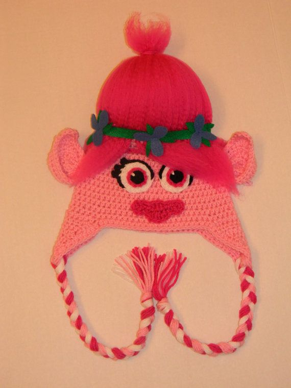 Crochet Poppy Troll hat Crochet and crafts Pinterest Hute, Mohnblumen u...