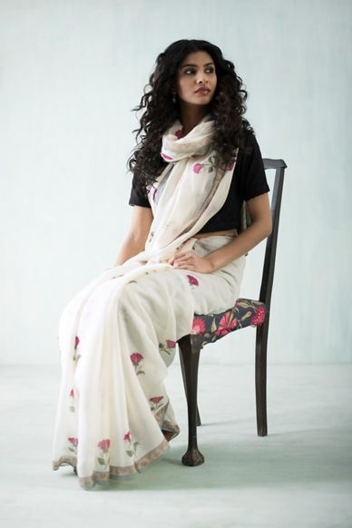 Goodearth - Amer Poppy Chanderi Saree