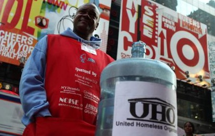 The United Homeless Organization... turns out they were frauds, but I'll always remember seeing them all over the city.