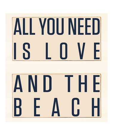 Take a look at this Cream & Navy 'Love' & 'The Beach' Plaque Set by Vinyl Crafts on #zulily today!