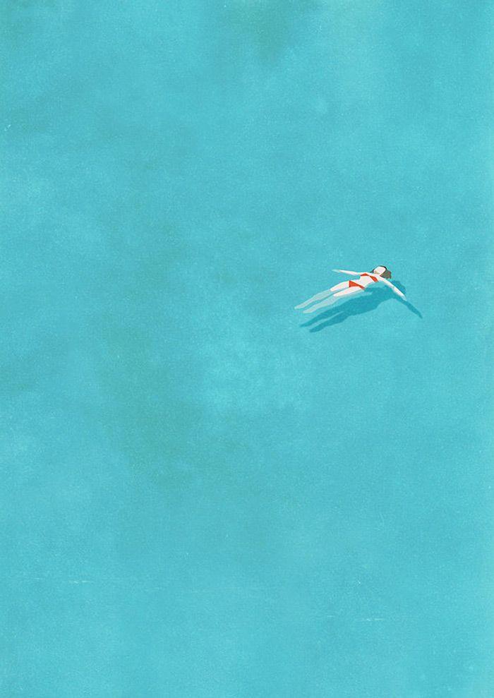 空間の使い方がすばらしいイラスト。シンプルでいいな。(via Alone.)